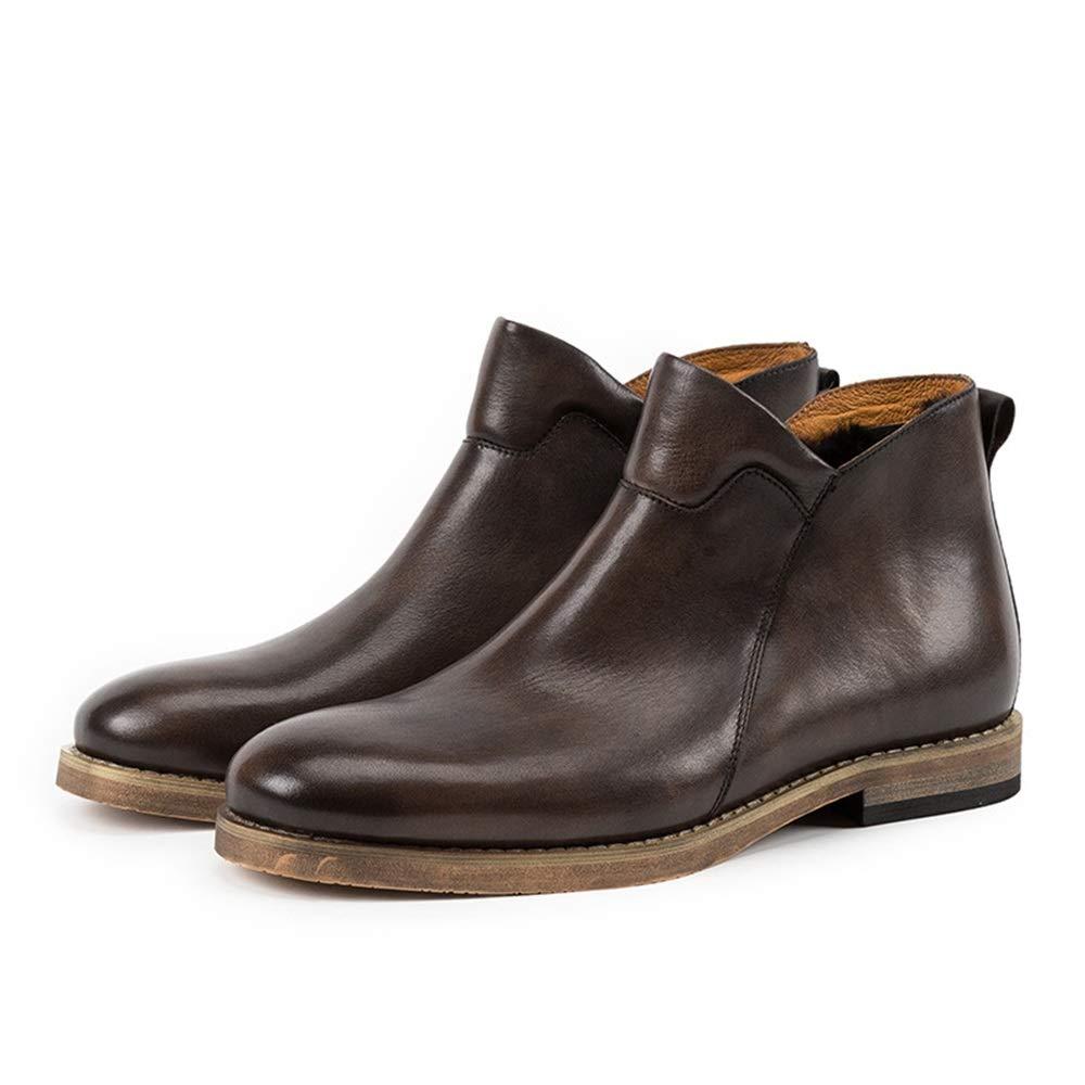 Qiusa Slip on Stiefel para Hombre Stiefel clásicas de Cuero Genuino Soft Sole Comfort Durable Comfort (Farbe   braun, tamaño   EU 42)