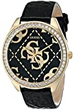 GUESS Women's U0473L2 Black & Gold-Tone Iconic Logo Watch with Genuine Crystals & Logo Embossed Patent Leather Strap