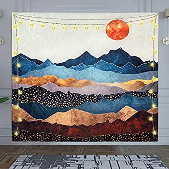 Simplife Mountain Tapestry Sunset Tapestry Wall Hanging Forest Tree Wall Tapestry Nature Tapestry for Wall Tapestry for Bedroom Room Home Decoration(51.2 x 59.1Inches)