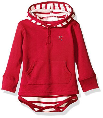 Wisconsin Badgers Ncaa Stripes - Two Feet Ahead NCAA Wisconsin Badgers Children Unisex Stripe Hooded Creeper,6Mo,Red