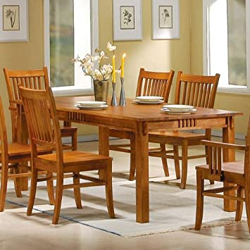 Amazoncom Mission Style Light Oak Solid HardWood Dining Table - Light oak dining table