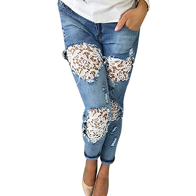 Dooxii Mujer Casual Skinny Delgado Lápiz Denim Pantalones ...