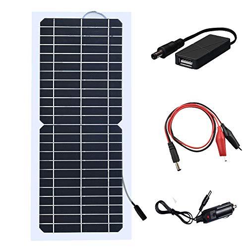 XINPUGUNAG 18V 10w Solar Panel Kit Battery Charger Semi-Flexible Monocrystalline Cell DIY Module Connector DC 12v 5V USB Cigarette Lighter Charge for Phone,Battery car