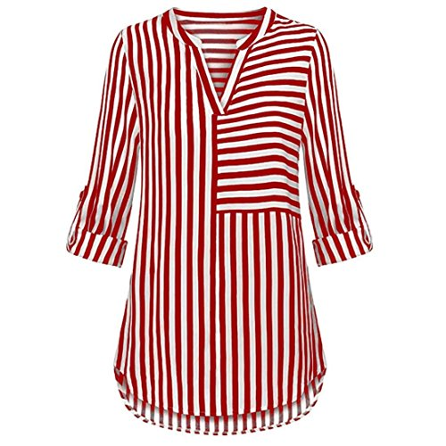 ZOMUSAR Women's Chiffon Blouse Button Split V Neck Blouse Cuffed Sleeve Striped Shirt Tops Red ()