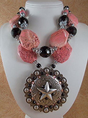 Chunky Western Cowgirl Necklace Set - Peach Pink Howlite - Crystal - Concho Pendant - Cowgirl Concho