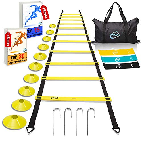 Invincible-Fitness-Agility-Ladder-Training-Equipment-Set-Improves-Coordination-Speed-Power-and-Strength-Includes-10-Cones-4-Hooks-and-3-Loop-Resistance-Bands-for-Outdoor-Workout