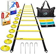 Invincible Fitness Agility Ladder Training Equipment Set, Improves Coordination, Speed, Power and Strength, In