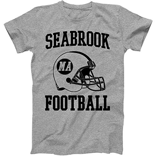 Vintage Football City Seabrook Shirt for State Massachusetts with MA on Retro Helmet Style Grey Size Large -