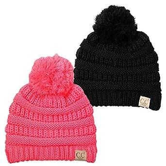 5752cb736 Amazon.com  H-6847-2-0637 Kids Pom Beanie Bundle - 1 Black