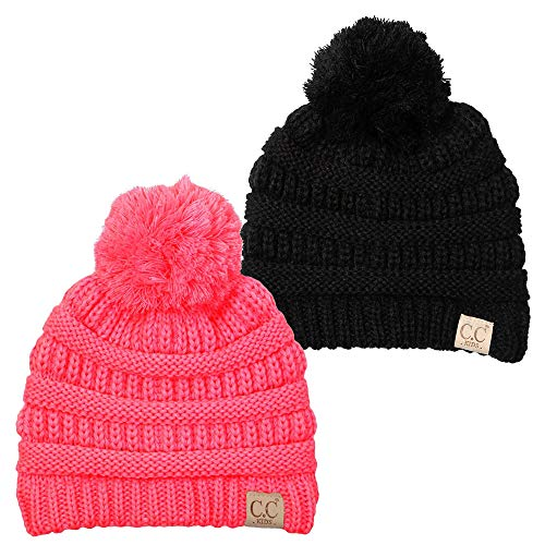 H-6847-2-0637 Kids Pom Beanie Bundle - 1 Black, 1 Candy Pink (2 -