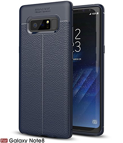 Galaxy Note 8 Case, BAISRKE Slim Fit Soft Silicon Shockproof Luxury Imitation Leather Striae Design Protection Cover for Samsung Galaxy Note 8 [Navy Blue]
