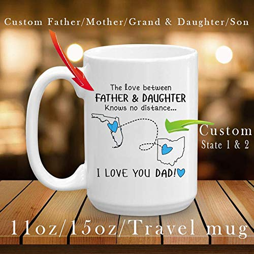 Fathers Day Gifts Personalized Fathers Day Gifts Coffee Mug For Dad - The Love Between A Mother Father And Daughter Son (Grandma/Grandpa Granddaughter/son) Know No Distance Cup, Mug 11/15oz/Travel Mug