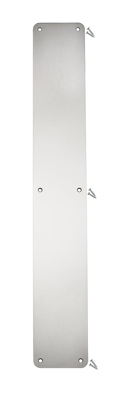 Polished Stainless Steel Door Finger Push Plate - 500 x 75mm - 1.2mm - Radius Corner - Fixings Included - VAT Registered Fire Door Guru