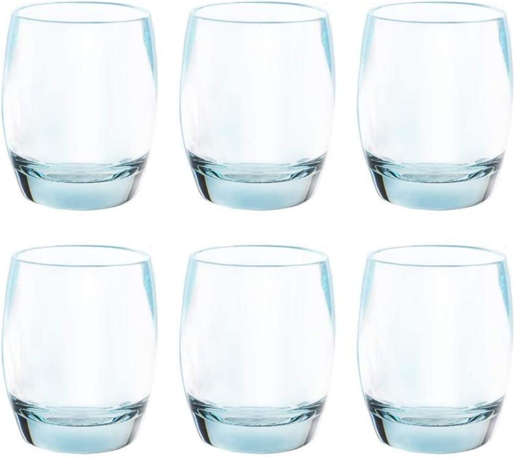 8 Oz Set of 6 Plastic Drinking Glasses Dishwasher Safe BPA Free Unbreakable Juice Glasses for Kids Shatterproof Wine Water Glasses Acrylic Tumblers (Light Blue)