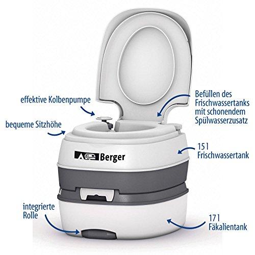 Berger Campingtoilette Mobil WC Deluxe, weiß/grau, Füllstandsanzeige, 17 l Fäkalientank