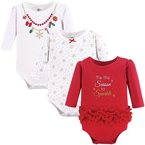Little Treasure Unisex Baby Cotton Bodysuits, Christmas Necklace 3-Pack Long-Sleeve, 9-12 Months (12M)