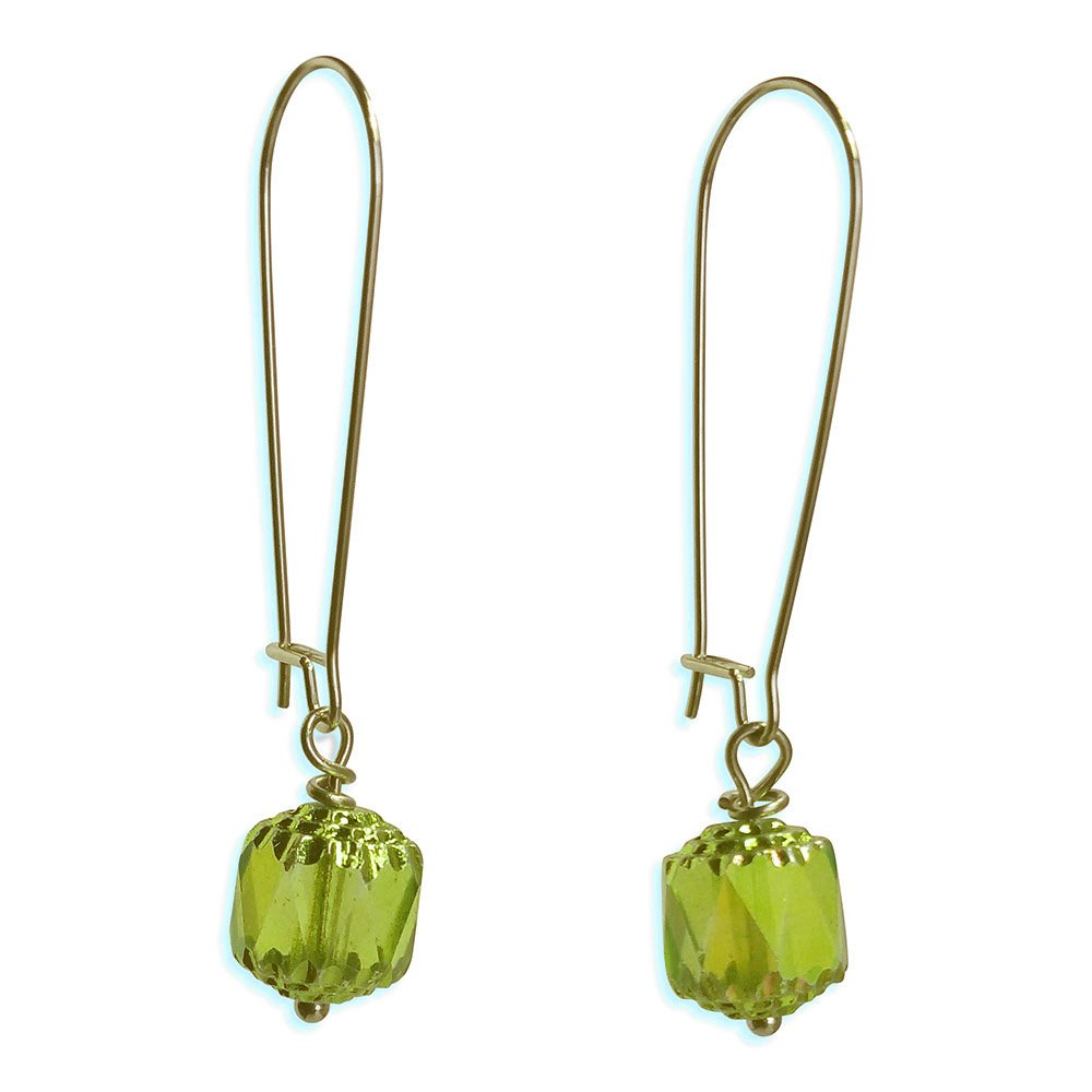 Sabai NYC Long Vintage Bohemian Style Faceted Glass Earrings on Kidney Ear Wires (Chartreuse)