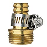 10 Pack - Orbit 5/8 Inch Brass Male Thread Shank Water Hose Mender with Clamp