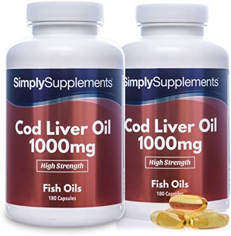 Cod Liver Oil 1000mg | Rich in Omega 3 Fatty Acids | 360 Capsules = Up to Year Supply