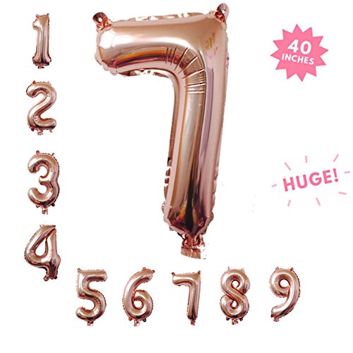40 Inch Rose Gold Jumbo Digital 7 Number Balloons Huge Giant Balloons Foil Mylar Number Balloons For Birthday Party,Wedding, Bridal Shower Engagement Photo Shoot, Anniversary (Rose Gold,Number 7)