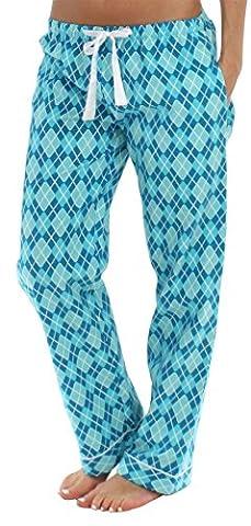 PajamaMania Women's Sleepwear Flannel Pajama PJ Pants, Blue Argyle (PMF1001-2040-2X) - Flannel Pajama Pants Sleepwear