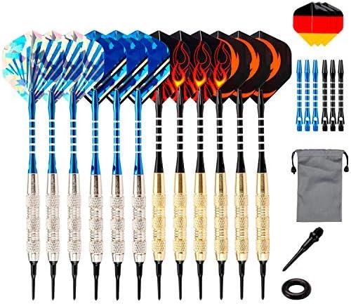 WOTEK Dardos con punta de plástico, 12 unidades de dardos blandos para diana electrónica, 18 gramos de dardos, 18 cañas, 42 plumas, 14 diseños, 100 puntas, 24 anillos de goma antipérdidas: Amazon.es: Deportes y aire libre