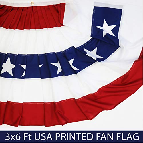 - G128 - USA Pleated Fan Flag, 3x6 Feet American USA Bunting Decoration Flags Printed Patriotic Stars & Stripes with Canvas Header and Brass Grommets