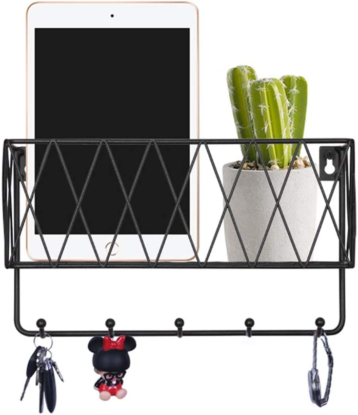 Kitchen Hallway Foyer Grey Mail Holder and Key Rack Whitelotous Wall Mounted U Shape Key Rack Organizer with 4 Hooks for Hanging in Entryway