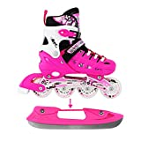 Adjustable Pink Inline Skates Ice Skates Combo Pack Gift Boxed For Kids Size Medium