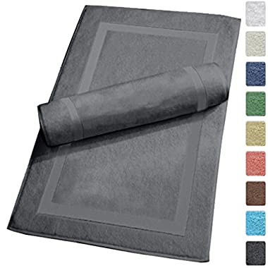 Luxury Hotel and Spa 100% Turkish Cotton Banded Panel Bath Mat Set 900gsm! 20 x34  (Gray, 2 Pack)