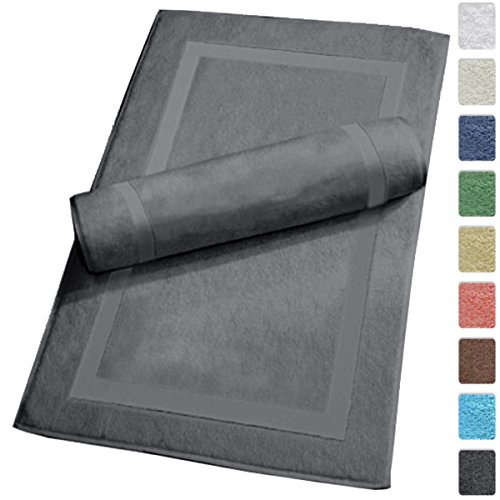 """Luxury Hotel and Spa 100% Turkish Cotton Banded Panel Bath Mat Set 900gsm! 20""""x34"""" (Gray, 2 Pack)"""