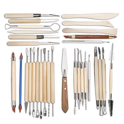 Set Of 30 Clay Sculpting Tool Wooden Handle Ceramic