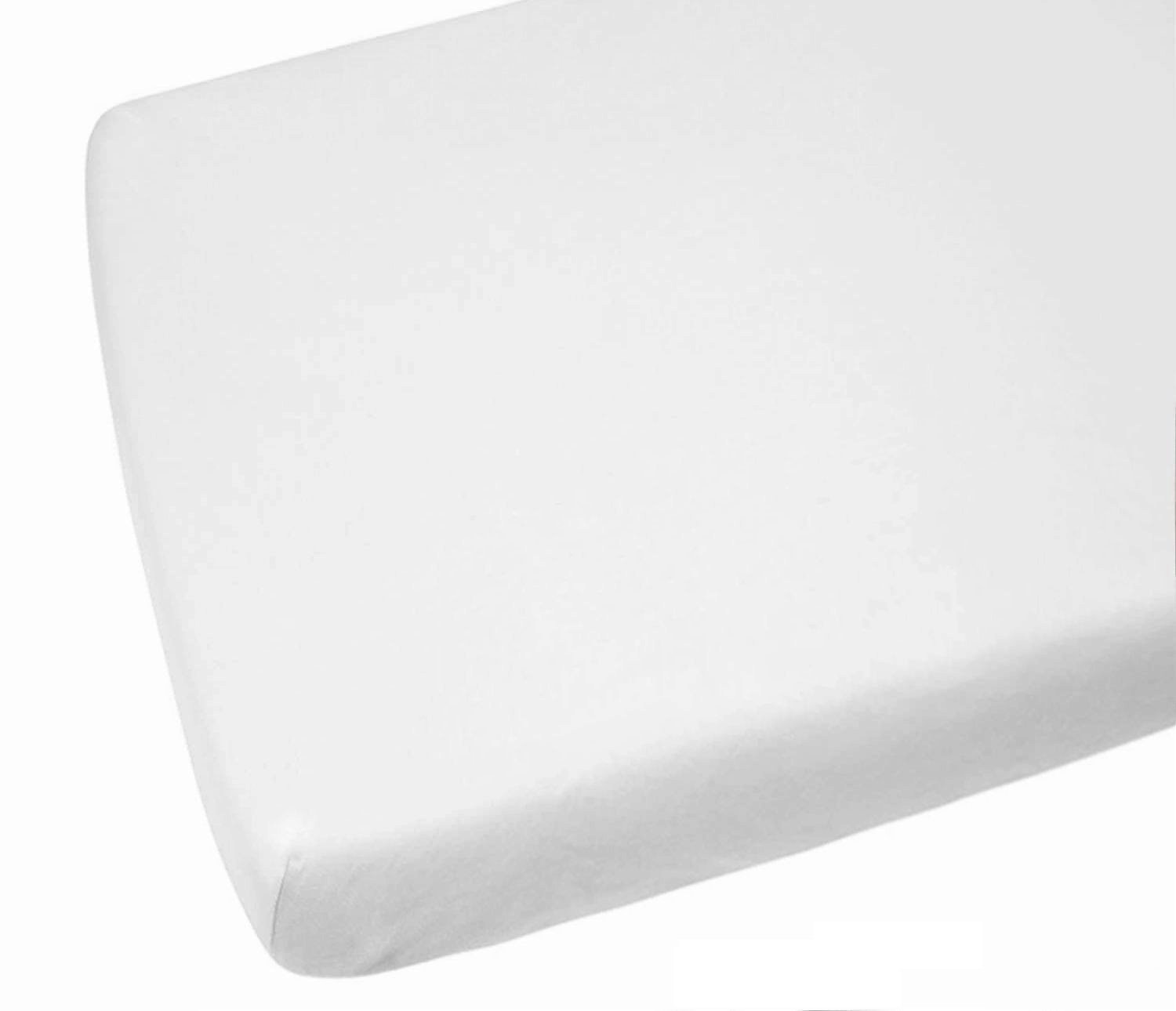 2 x AmigoZone Polly Cotton Cot Bed Fitted Sheet (Cot Bed (70 x 140cm), White) Larra Limited