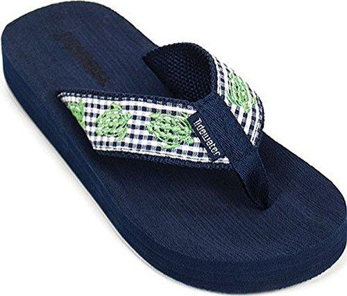 Tidewater Sandals Women's Gingham Turtle Flip Flop,Black/White/Green,US 9 M (Turtle Flip Flops)