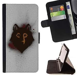 BullDog Case - FOR/Apple Iphone 5C / - / Spray Graphiti Wolf Art /- Monedero de cuero de la PU Llevar cubierta de la caja con el ID Credit Card Slots Flip funda de cuer