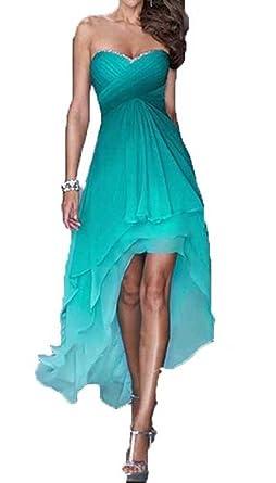 Dislax High Low Gradient Chiffon Prom Dresses Homecoming Dress Green US 2