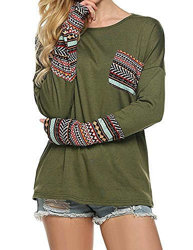 POGT Women Long Sleeve O-Neck Patchwork T-Shirt Tops (L, Army Green)