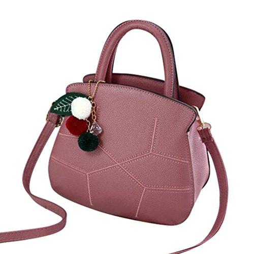 Baymate Vintage Bolso Tote Crossbody Bolsa de la Mujer de Gran Capacidad con Colgante Oscuro Pink