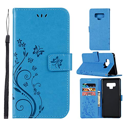 Cheap Galaxy Note 9 Case, CimdaUS PU Leather Wallet Flip Folio [Kickstand] Case Cover with Card Slot and Wrist Strap for Samsung Galaxy Note 9 (A-Blue)