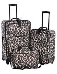 Jetstream Leopard Print 3 Piece Luggage Set - Checked & Carry On Suitcases with Business Bag