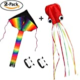 Originalidad 2 Pack Kites - Large Rainbow Delta Kite and Red Mollusc Octopus with Handle & 200' of Line for Children Outdoor Game, Activities, Beach Trip Great Gift to Kids