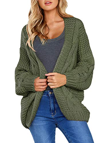 (Dokotoo Womens Fashion 2019 Solid Elegant Casual Winter Warm Cozy Open Front Long Sleeve Chunky Cable Knit Cardigans Sweaters Outerwears Coat Green Small)