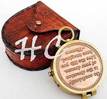 Amazon Com A S Handicrafts Brass Engraved Compass With Thoreau S Go
