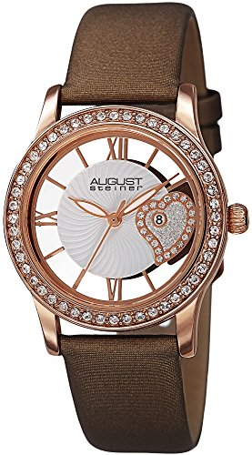 August Steiner Women's Swarovski Crystal Watch - See Thru Heart Dial Wave Pattern