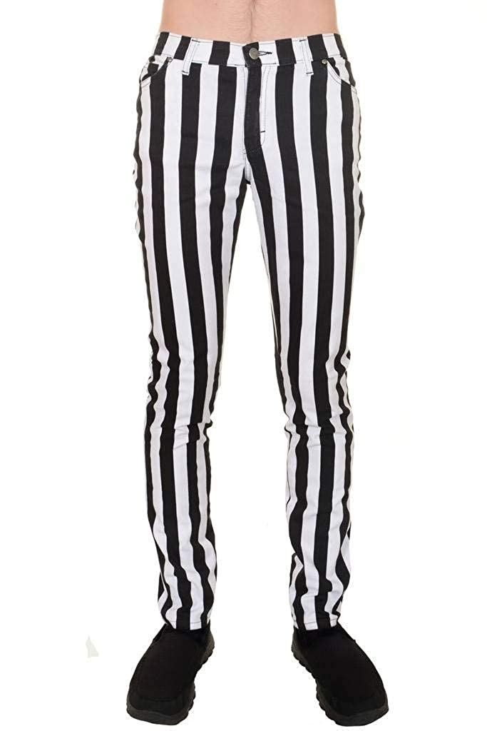 1d2ef53cd7df6 Mens Indie Vintage Retro 60s 70s Mod Black White Striped Stretch Skinny  Jeans