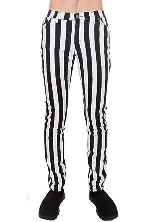 7ffe4ff0 Mens Indie Vintage Retro 60s 70s Mod Black White Striped Stretch Skinny  Jeans 28 Regular
