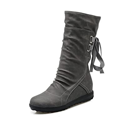 Blivener Women's Winter Back Lace up Boot Mid Calf Snow Boots | Mid-Calf