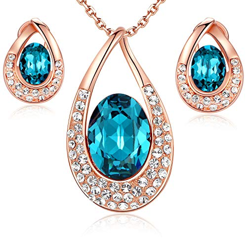 (Leafael [Presented by Miss New York] Angel's Teardrop Made with Swarovski Crystals Blue Zircon Jewelry Set Earrings Necklace, 18