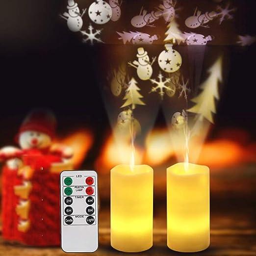 2 velas LED para proyectores de Navidad, lámpara de proyección de ...