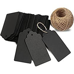 KINGLAKE 100 PCS Kraft Paper Blank Christmas Gift Tags with String Vintage Gift Tag Wedding Favor Hang Tags with 100 Feet Natural Jute Twine Retangle Hanging Tags for Crafts & Price Tags Labels